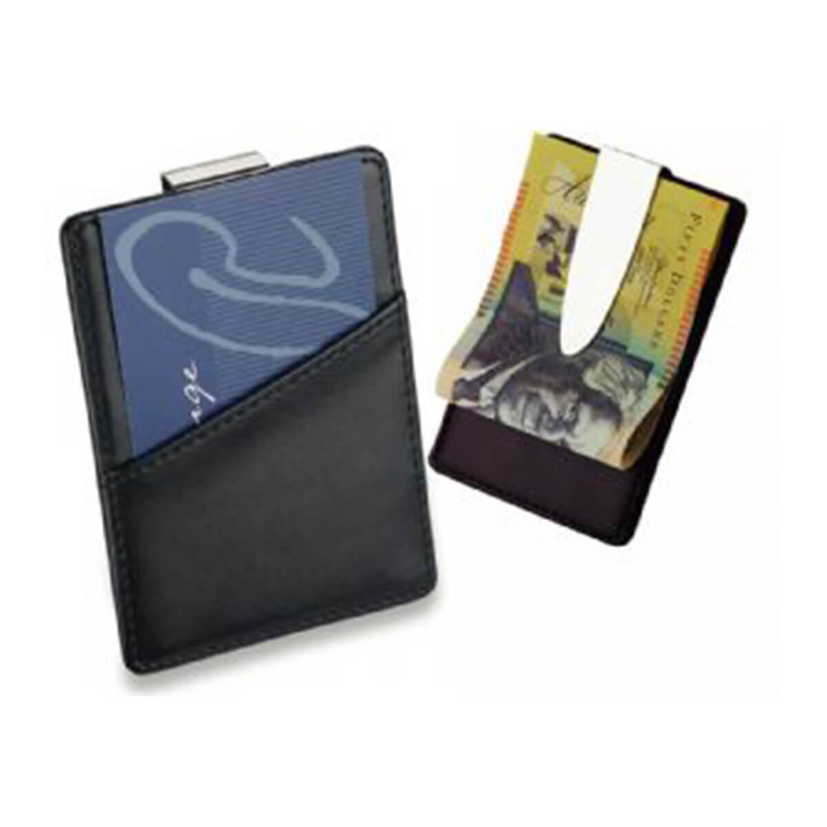 Card Holder & Money Clip-Black with Silver Clip.