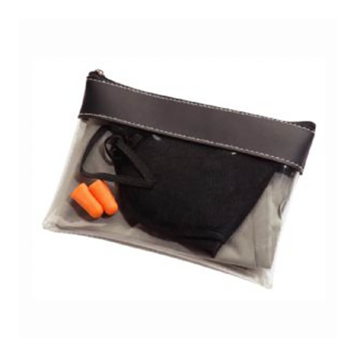 Travel Comfort Set-Transparent Pouch with Black Trim.