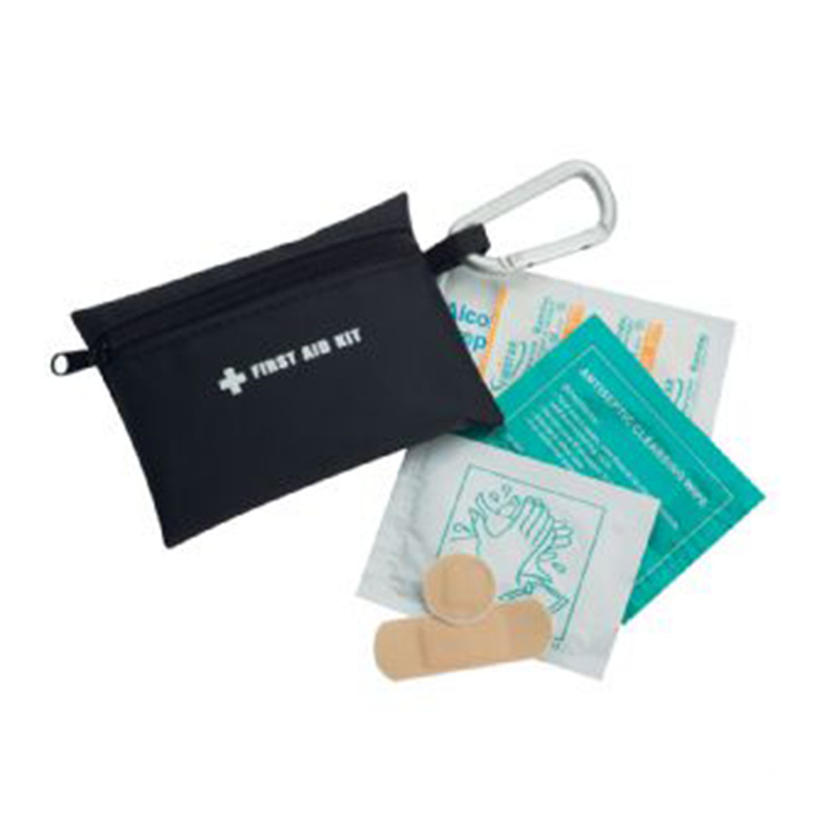Purse Size First Aid Kit-Black with Silver Carabineer.
