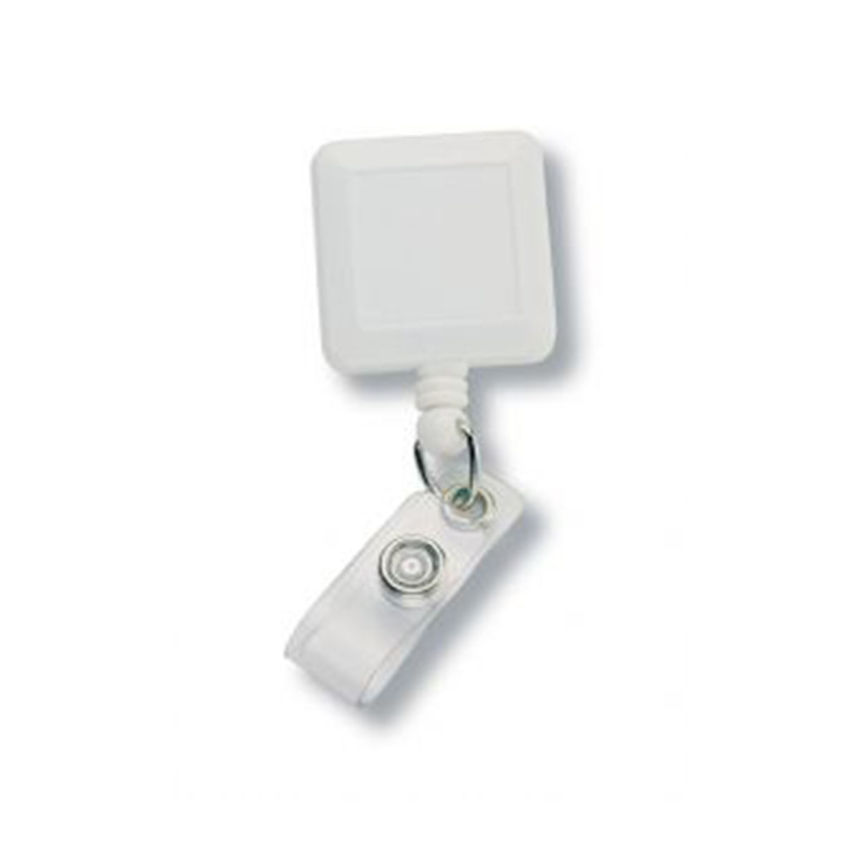Square Retractable Badge Holder-White.