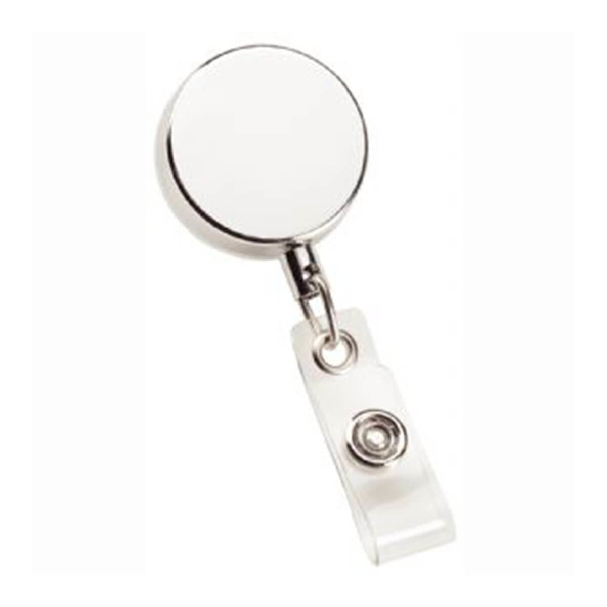 Metal Zip Pull Badge Holder-Silver.