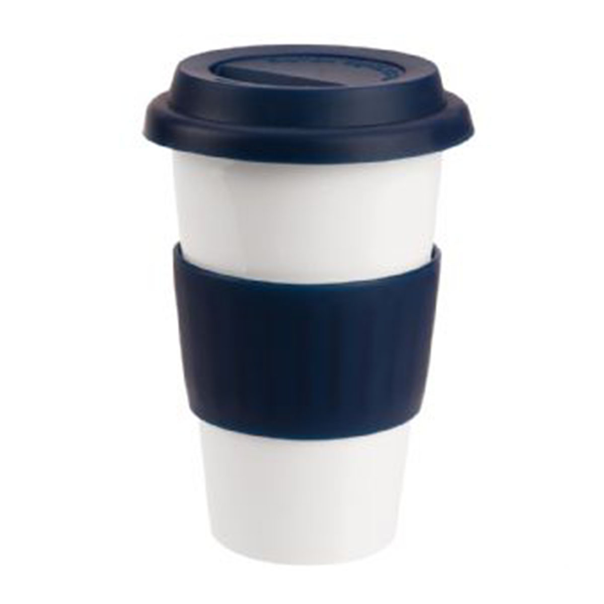 Ceramic Coffee Mug-White with Blue Band and Lid.
