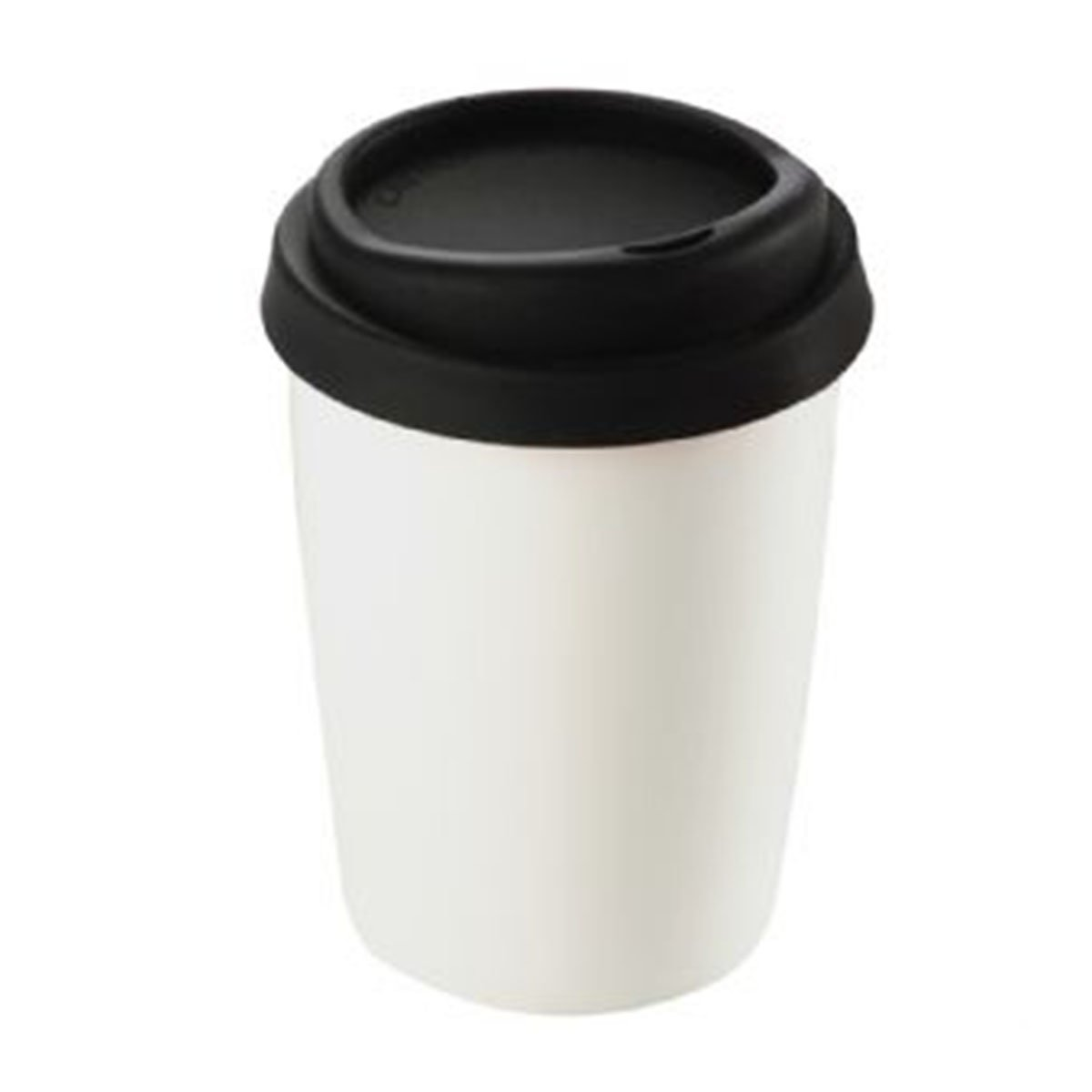 Ceramic Mug with Silicone Lid-White with Black Lid.