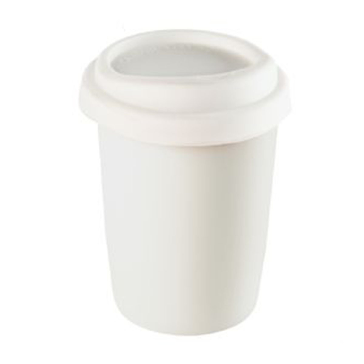 Ceramic Mug with Silicone Lid-White with White Lid.