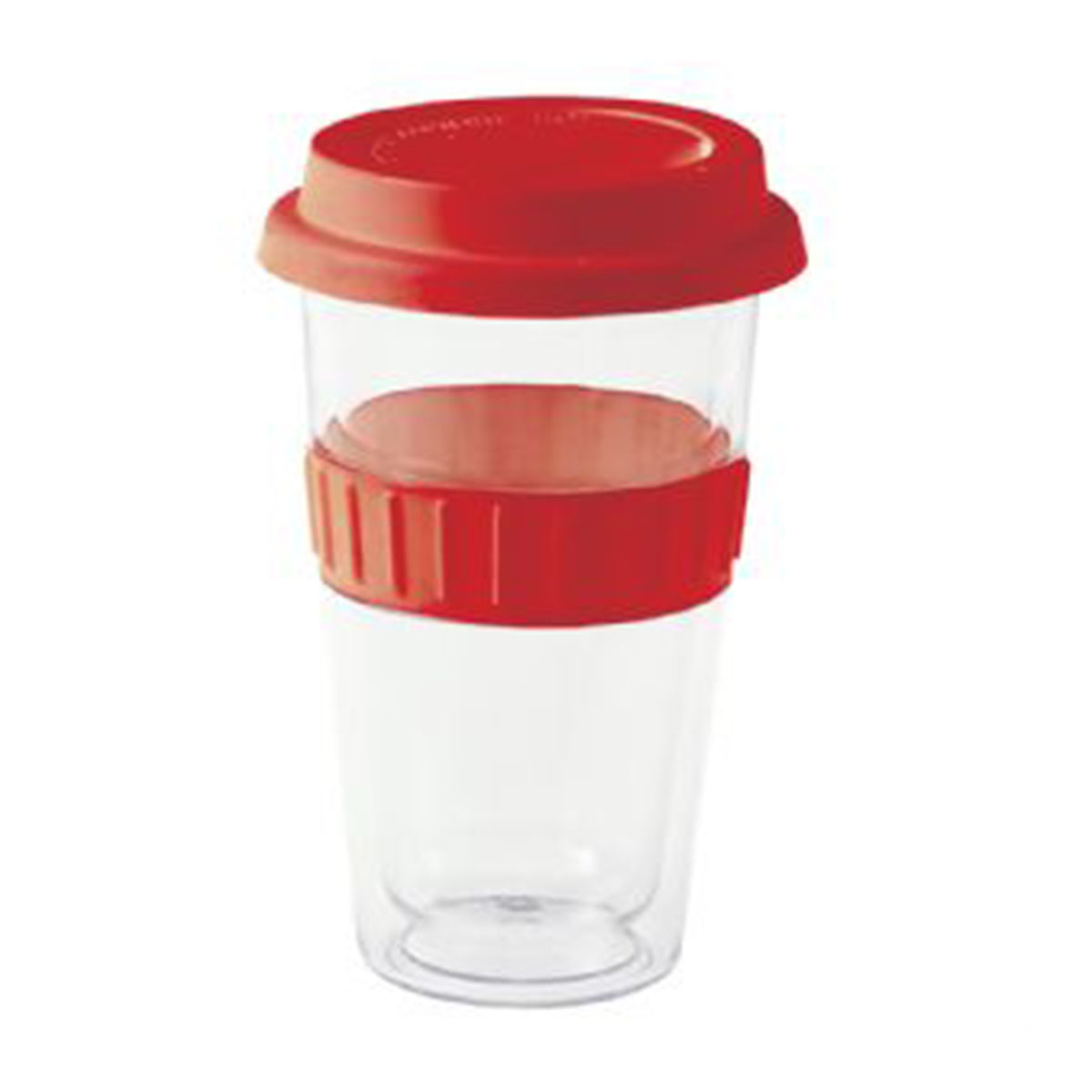 Plastic Double-walled Mug-Red.