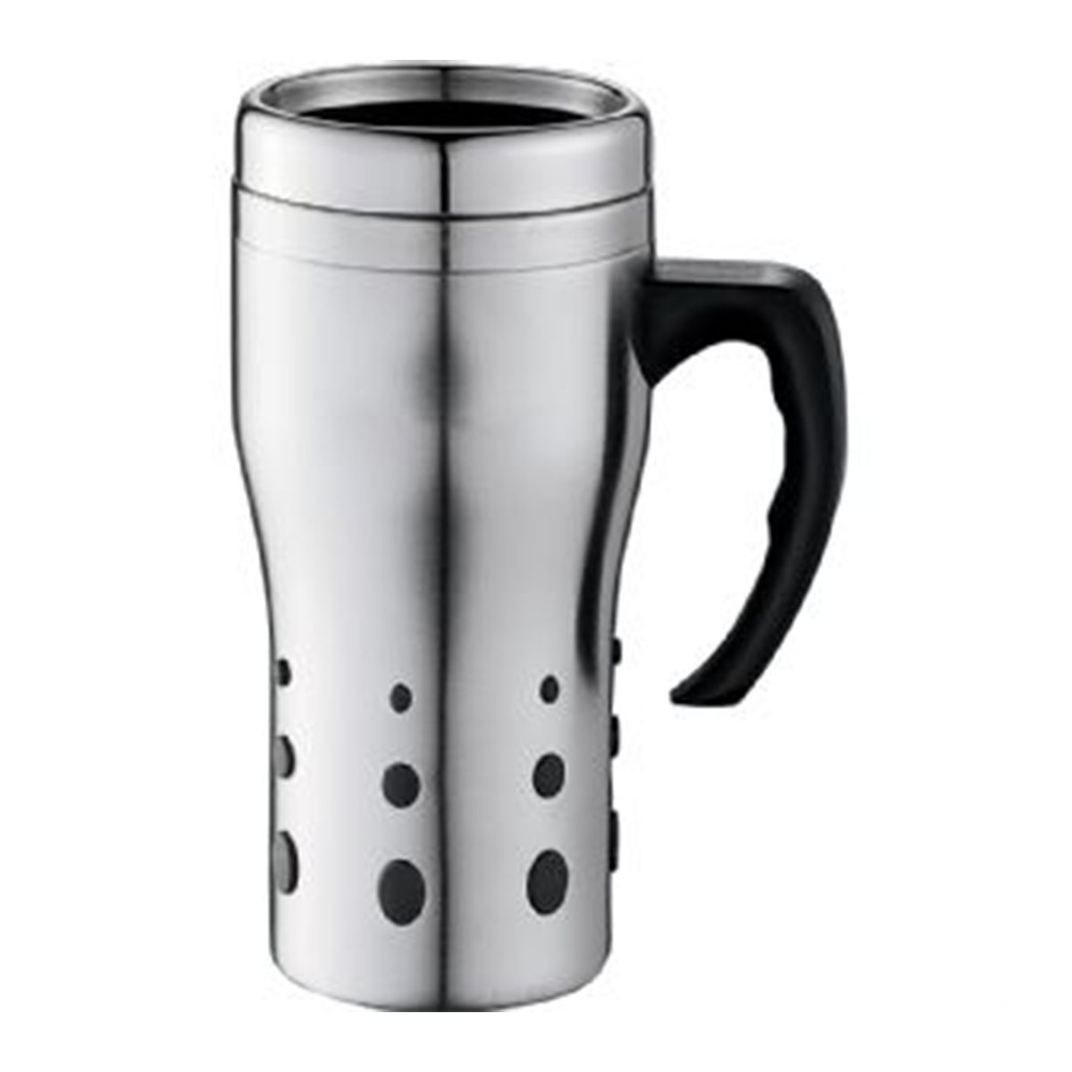 Terrano Travel Mug-Silver with black trim