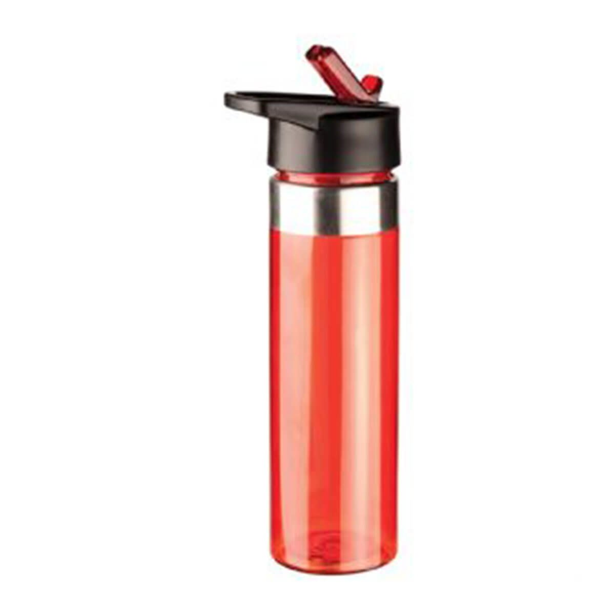 Drink Bottle-Red body with black lid and silver trim.