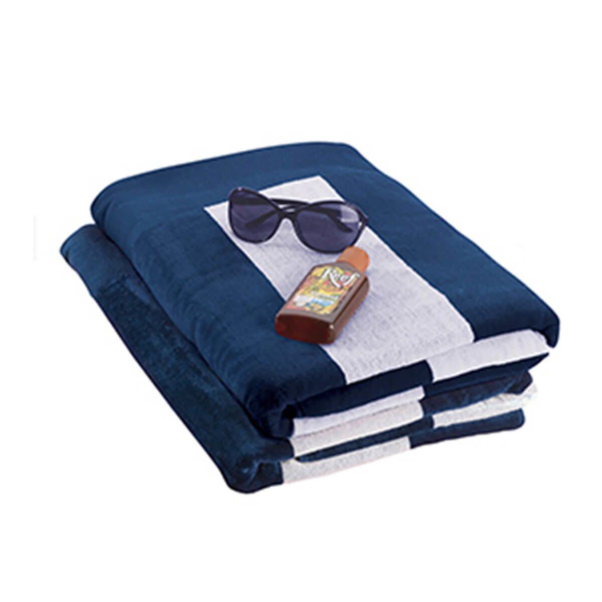 Beach Towel-Blue with White Stripes.