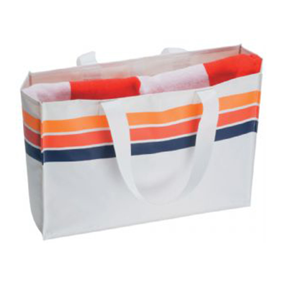 Beach Bag-White with Navy, Red and Orange Stripes.