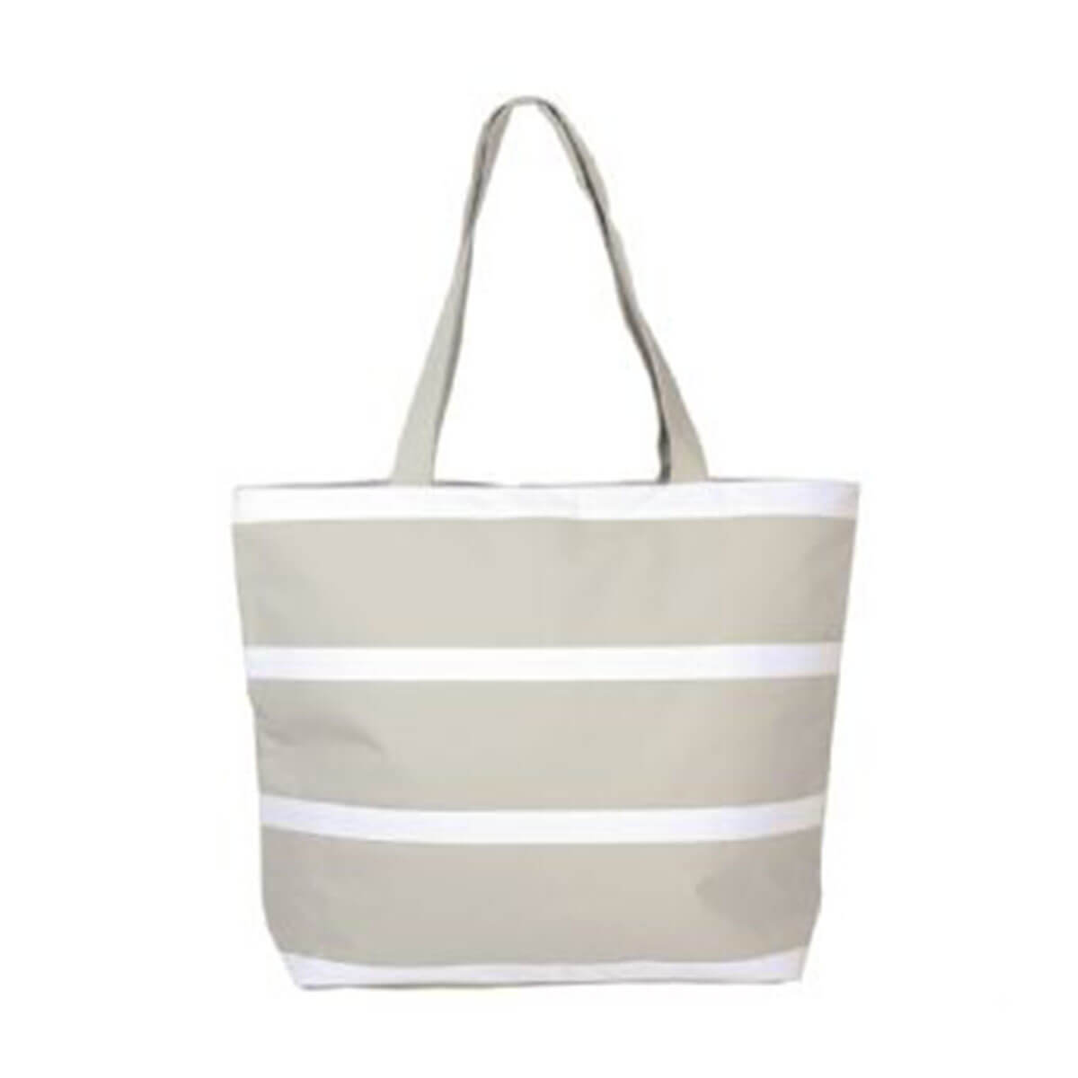 Insulated Cooler Bag-Grey with white stripes.