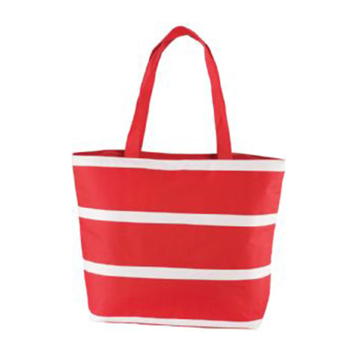 Insulated Cooler Bag-Red with white stripes.