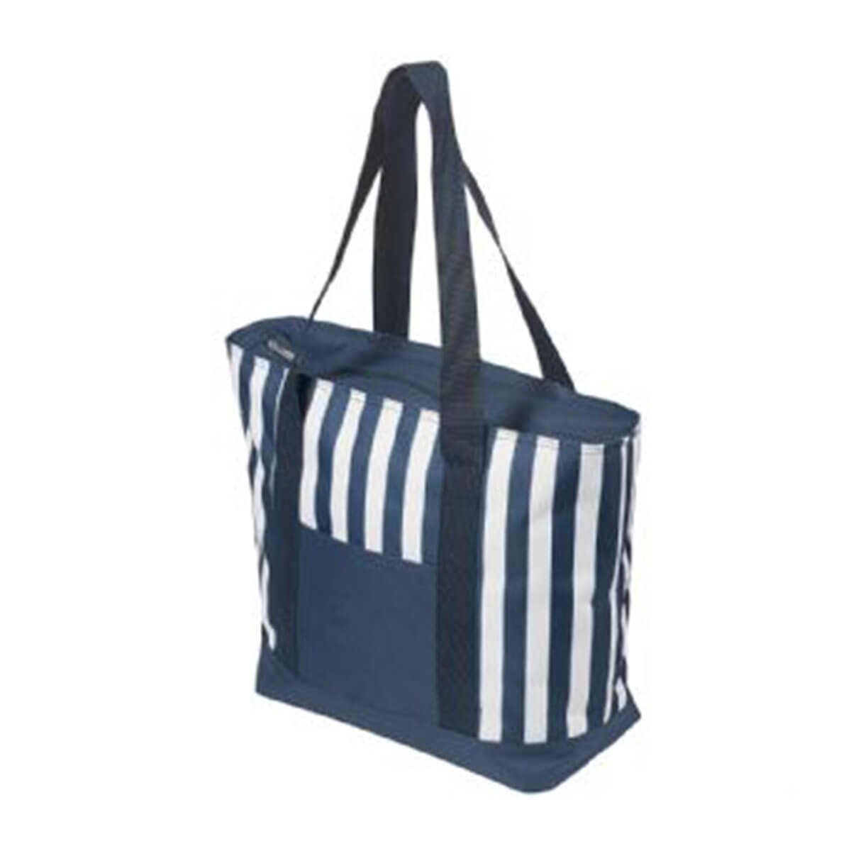 17.5 Litre Zippered Striped Beach Cooler bag-Blue/White