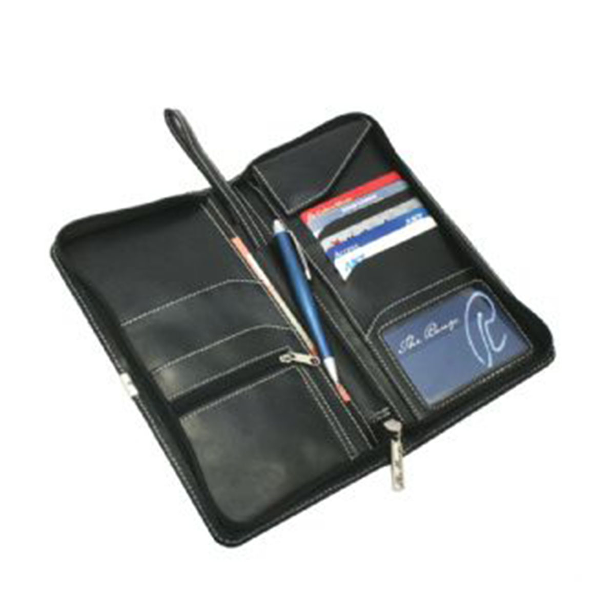 Nappa Leather Travel Wallet-Black.