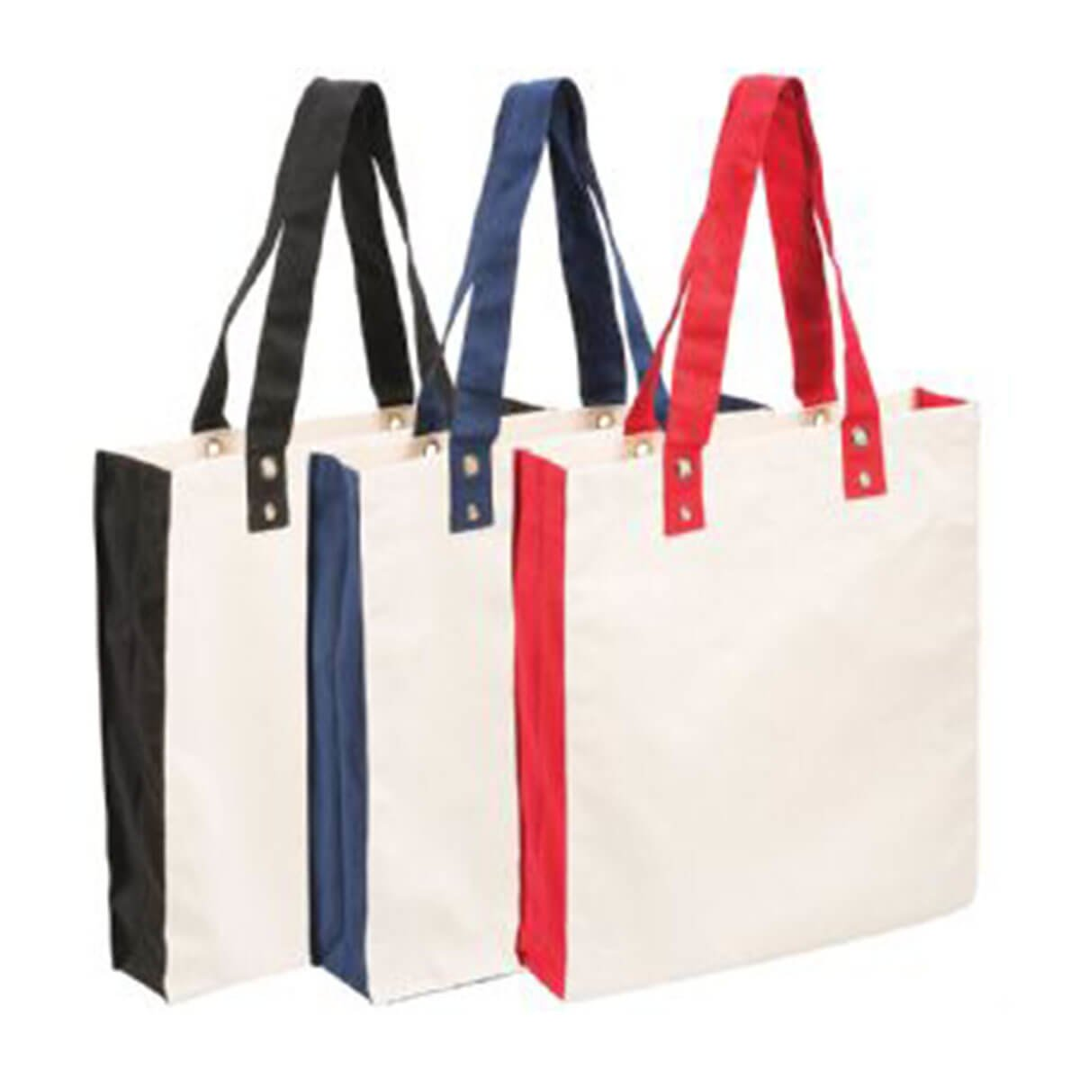 Cotton Canvas Tote-Black/Natural