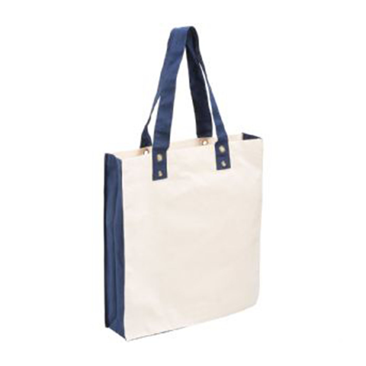 Cotton Canvas Tote-Blue/Natural