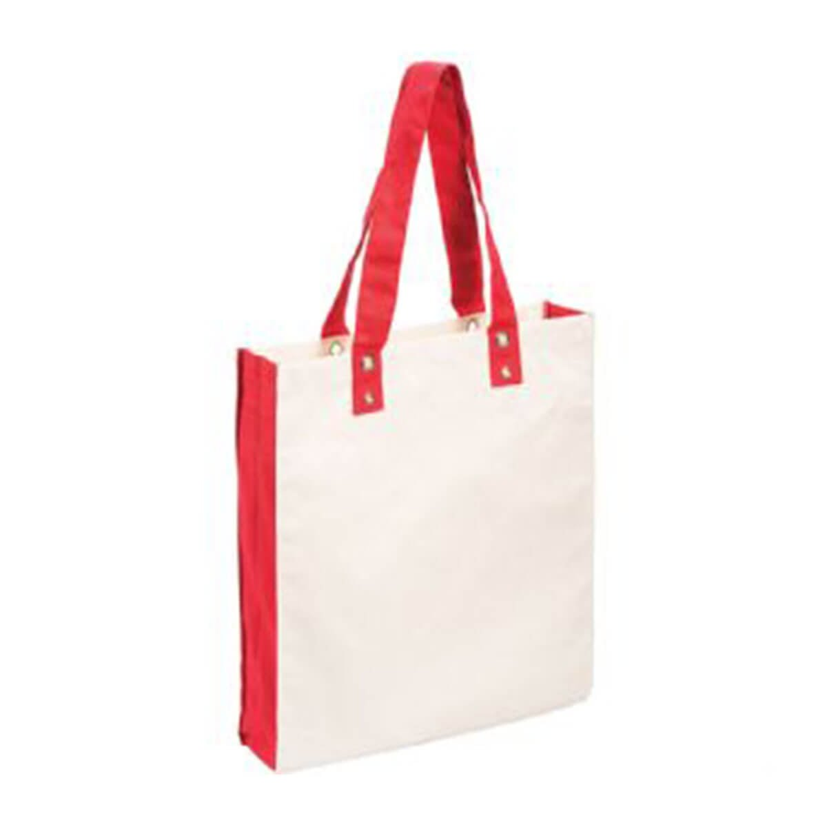 Cotton Canvas Tote-Red/Natural