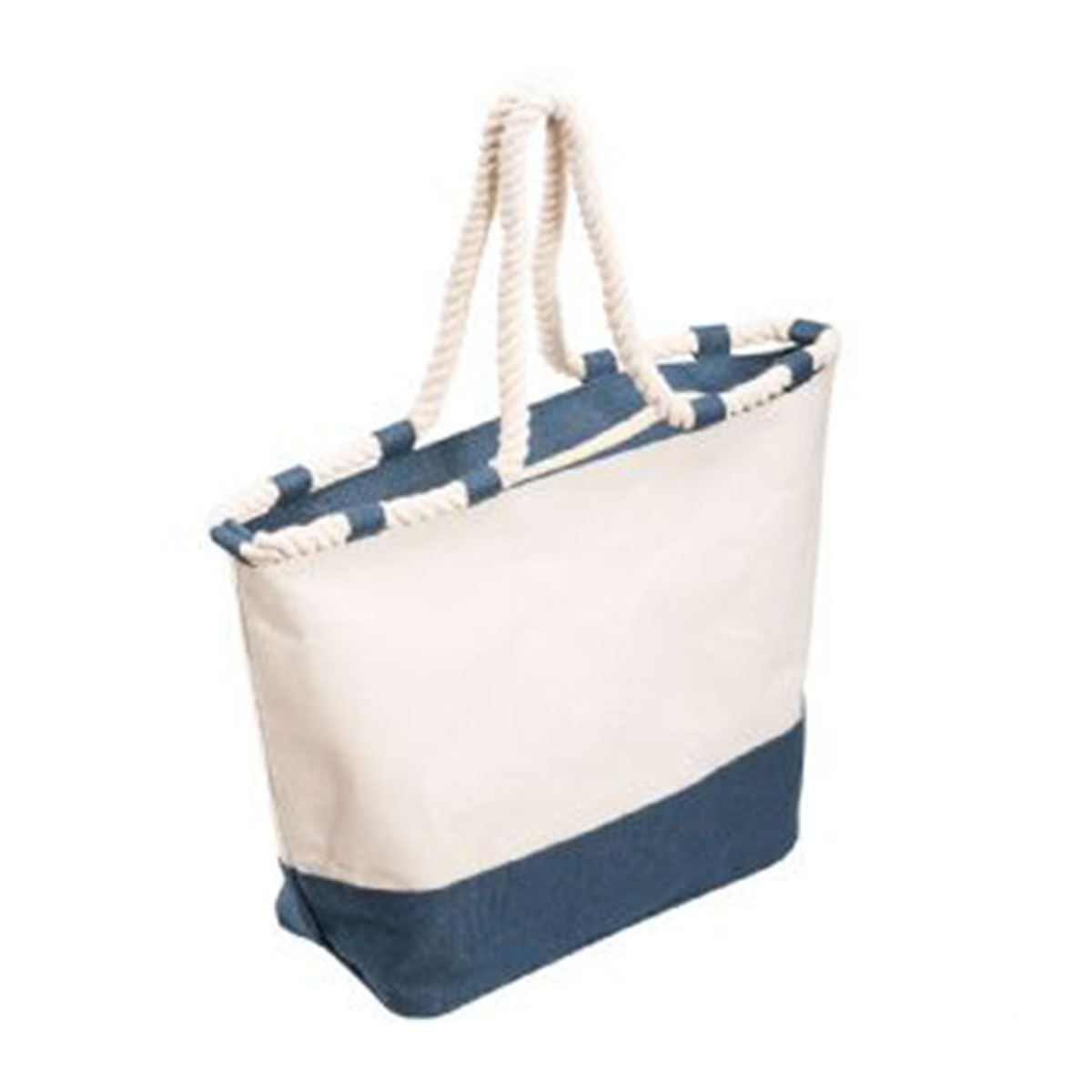 Zippered Laminated Canvas Tote Bag-Blue/Natural