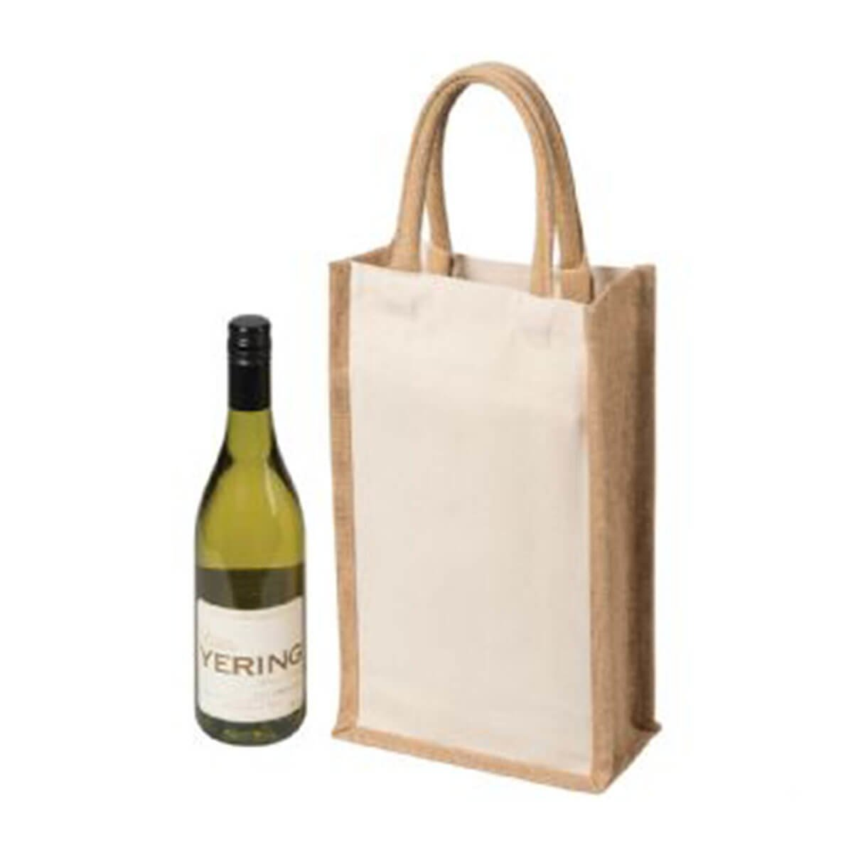 Two Bottle Canvas Wine Carrier-Natural