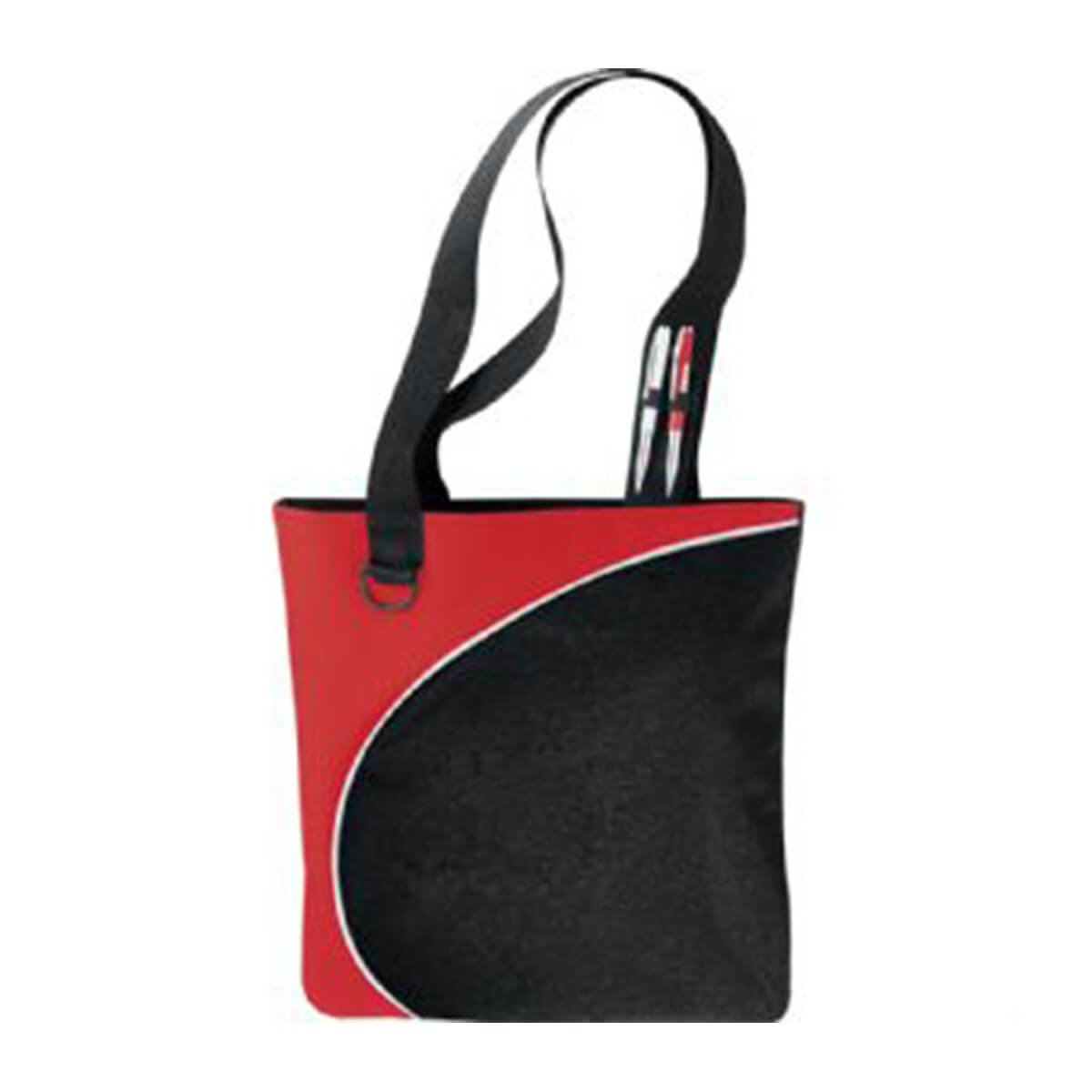 Lunar Convention Tote-Black and Red with White Trim.