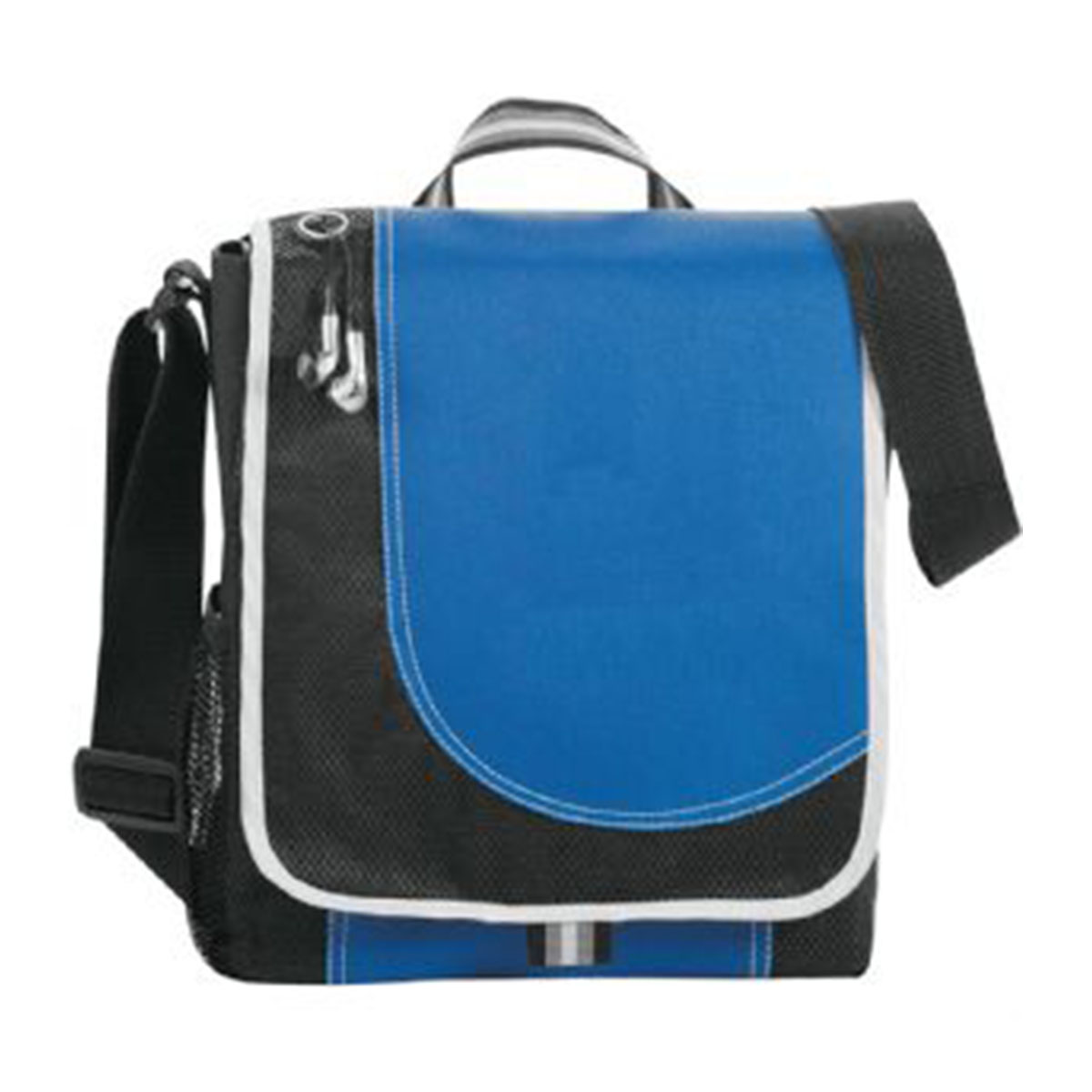 Boomerang Messenger Bag-Blue and Black with White Trim.