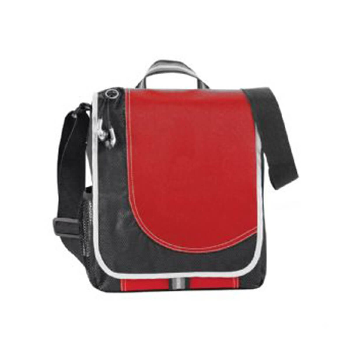 Boomerang Messenger Bag-Red and Black with White Trim.