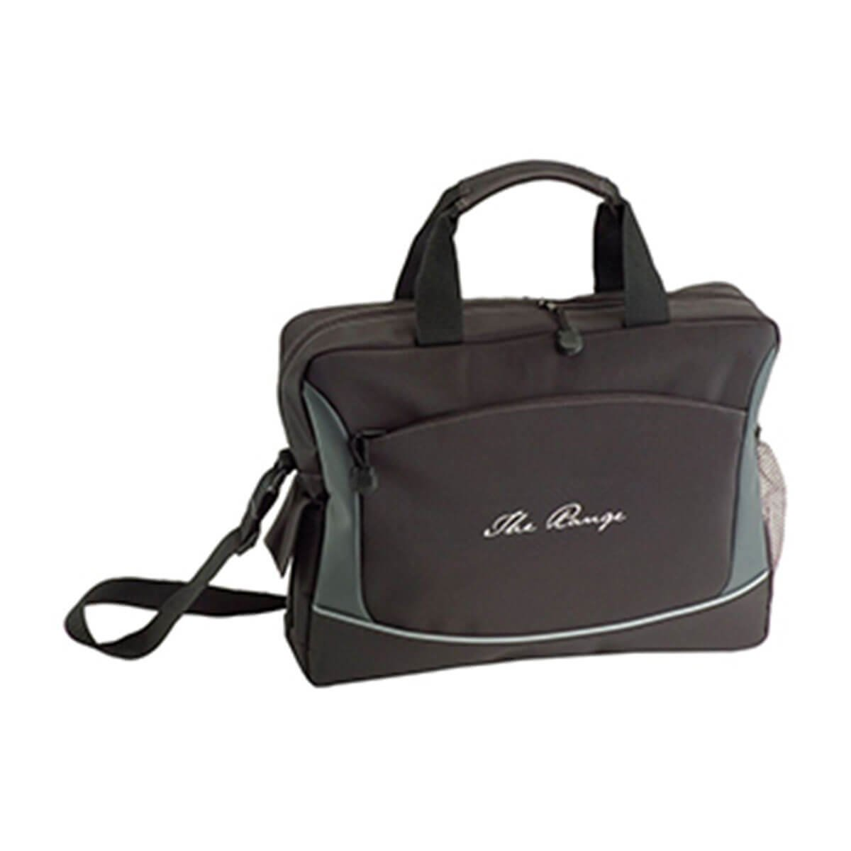 Conference Bag in Microfiber-Black with Grey Trim.