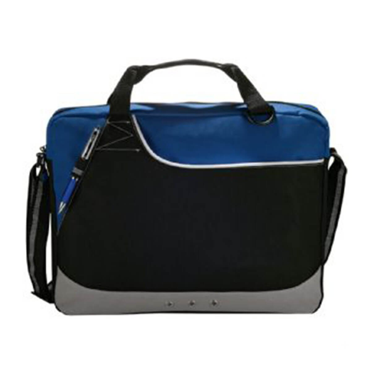 Rubble Brief Bag-Blue and Black with White Trim.