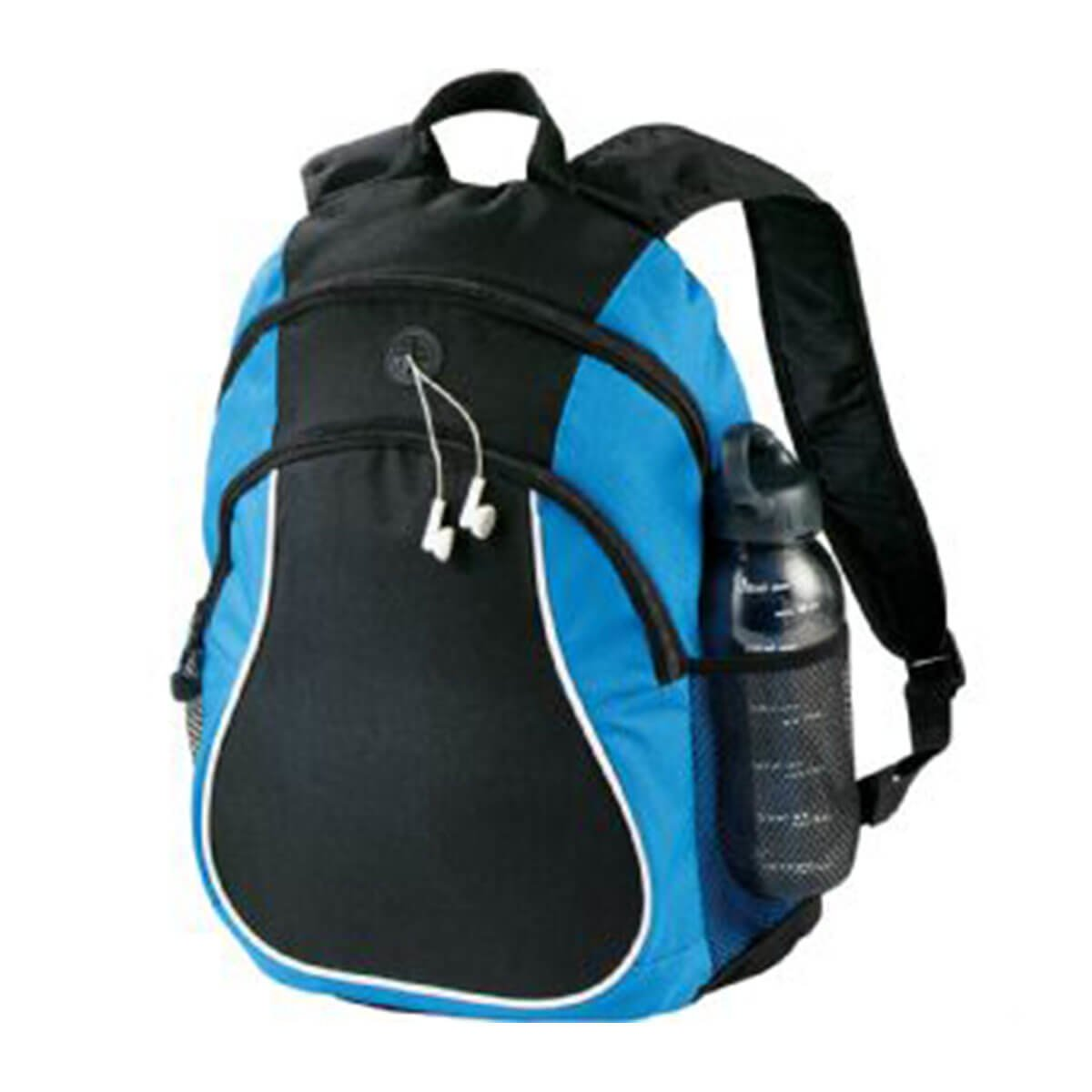 Coil Backpack-Blue and Black with White Trim.
