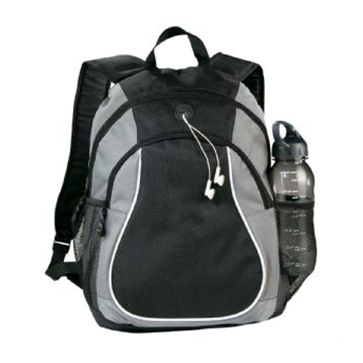 Coil Backpack-Grey and Black with White Trim.