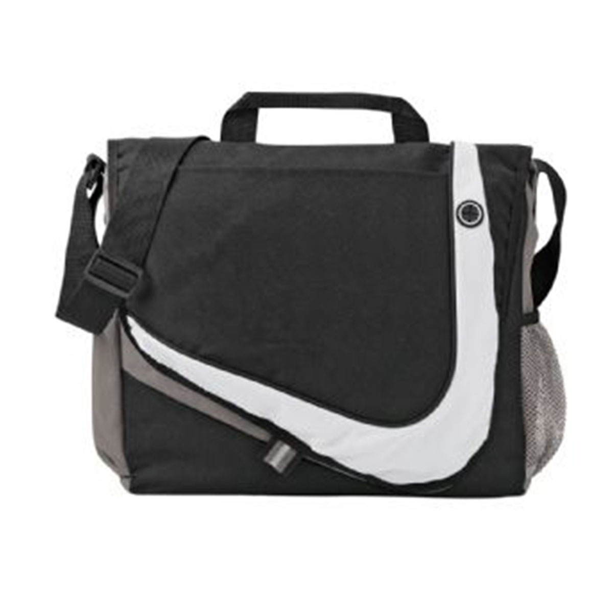 Racer Messenger Bag-Black with Grey and Silver Trim.