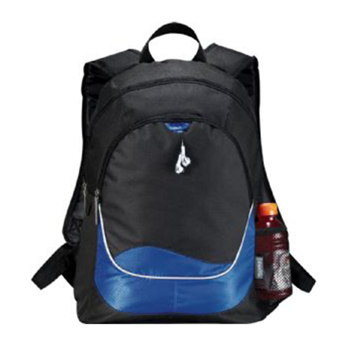 Explorer Backpack-Blue with white trim.