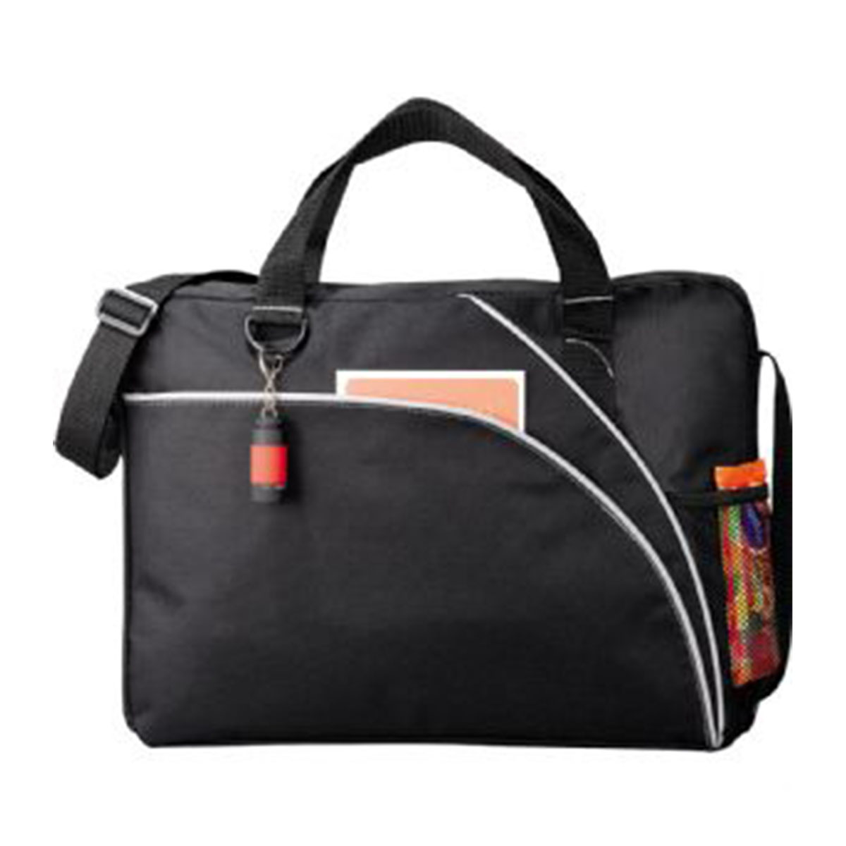 Double Curve Conference Bag-Black with grey trim.