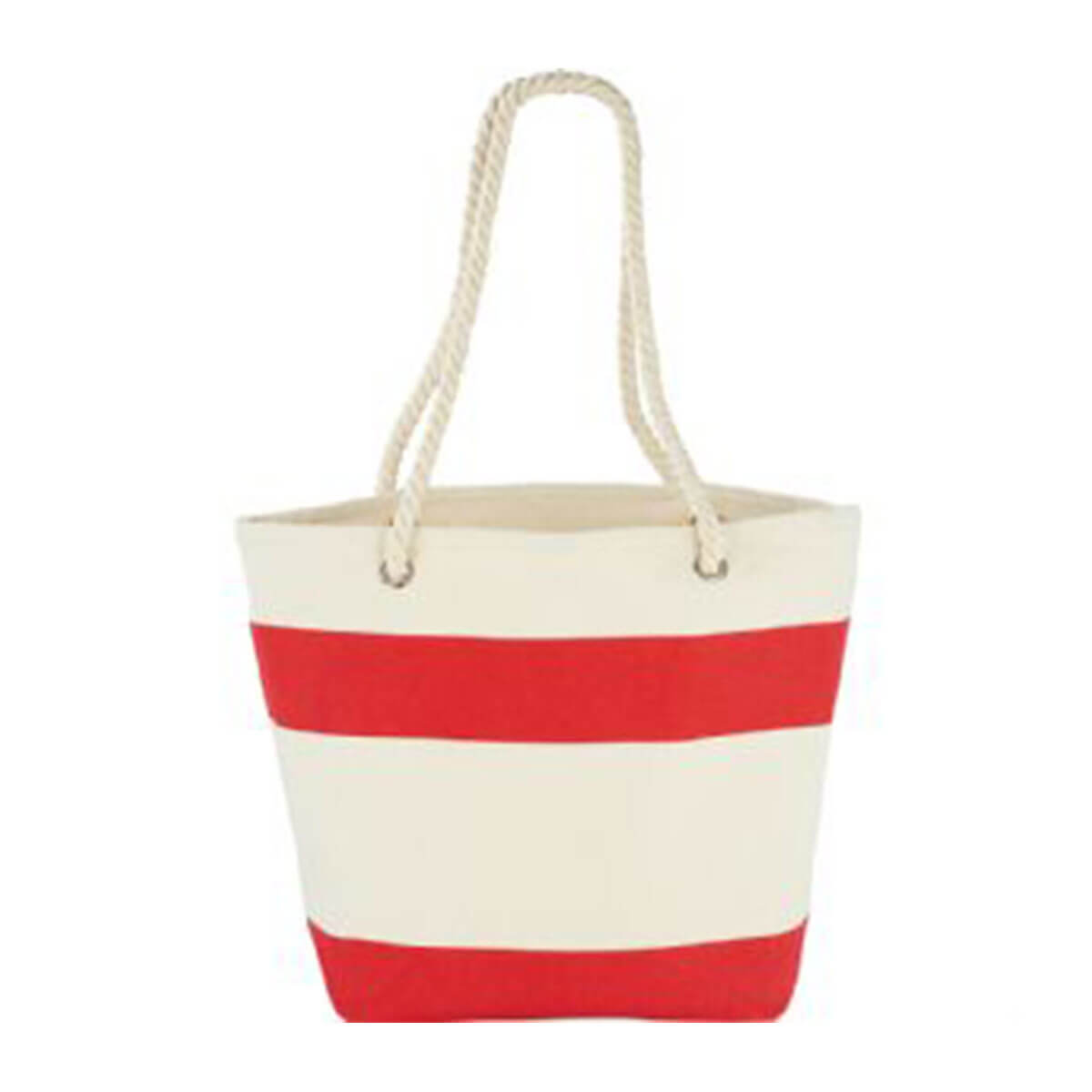 Capri Stripes Cotton Tote-Natural and Red