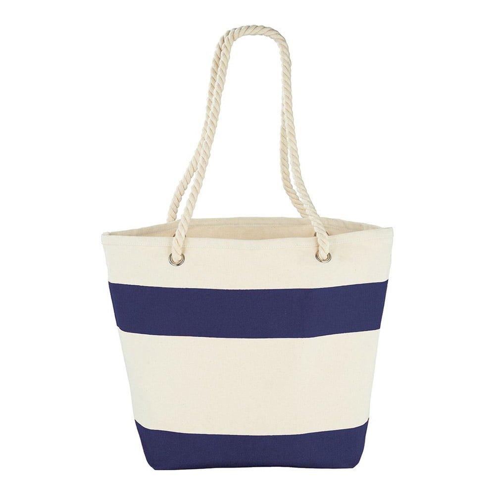 Capri Stripes Cotton Shopper Tote-Natural and Blue