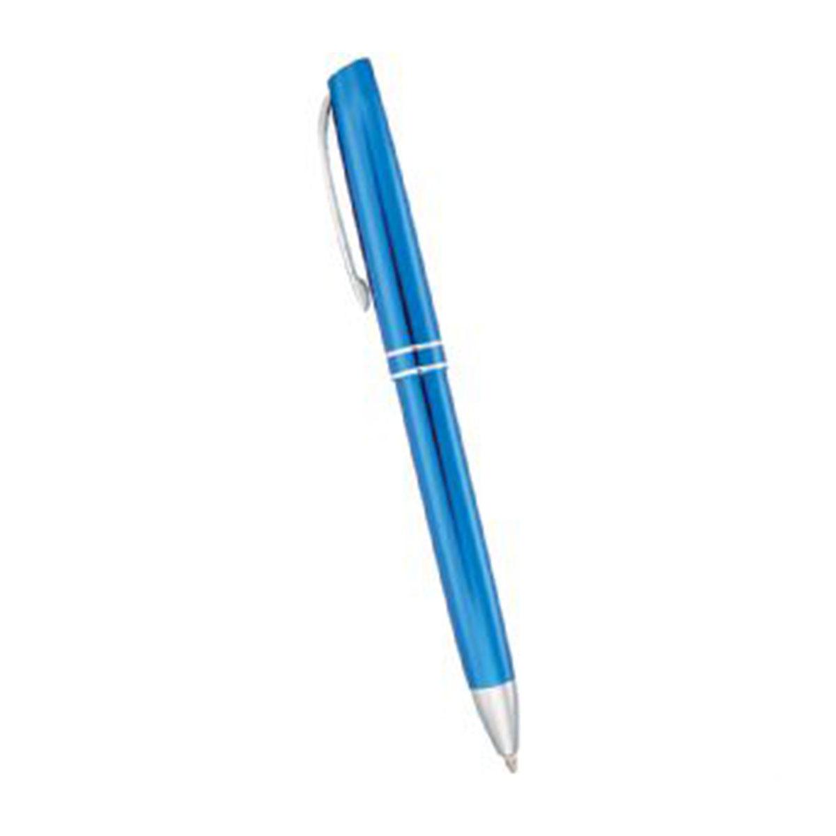 Hemingway Click Ballpoint Pen-Blue with silver trim.