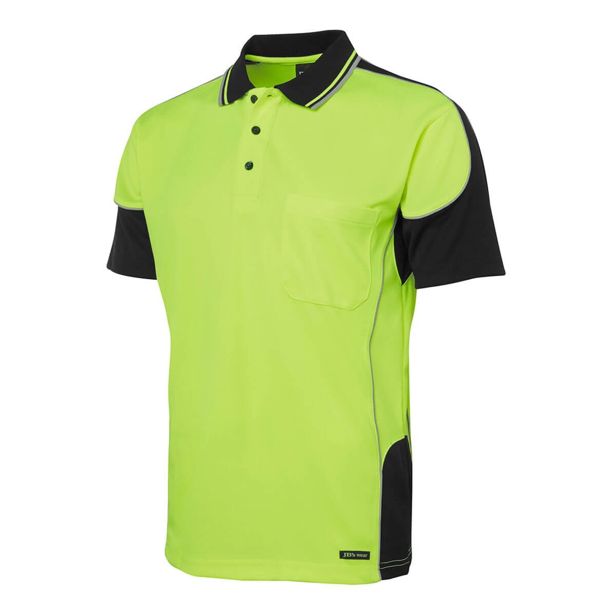 Hi Vis 4602.1 Contrast Piping Polo-Lime  /  Black