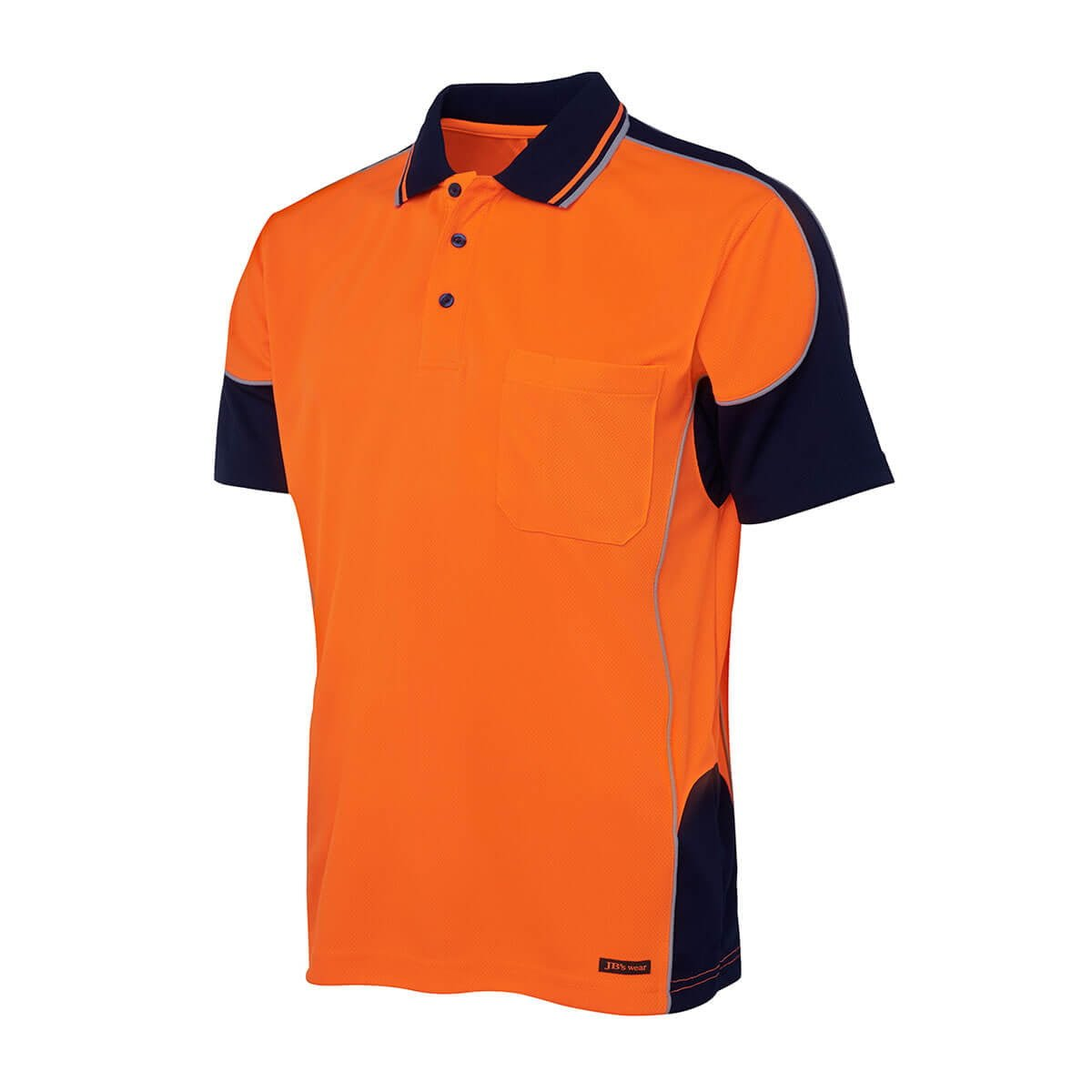Hi Vis 4602.1 Contrast Piping Polo-Orange  /  Navy
