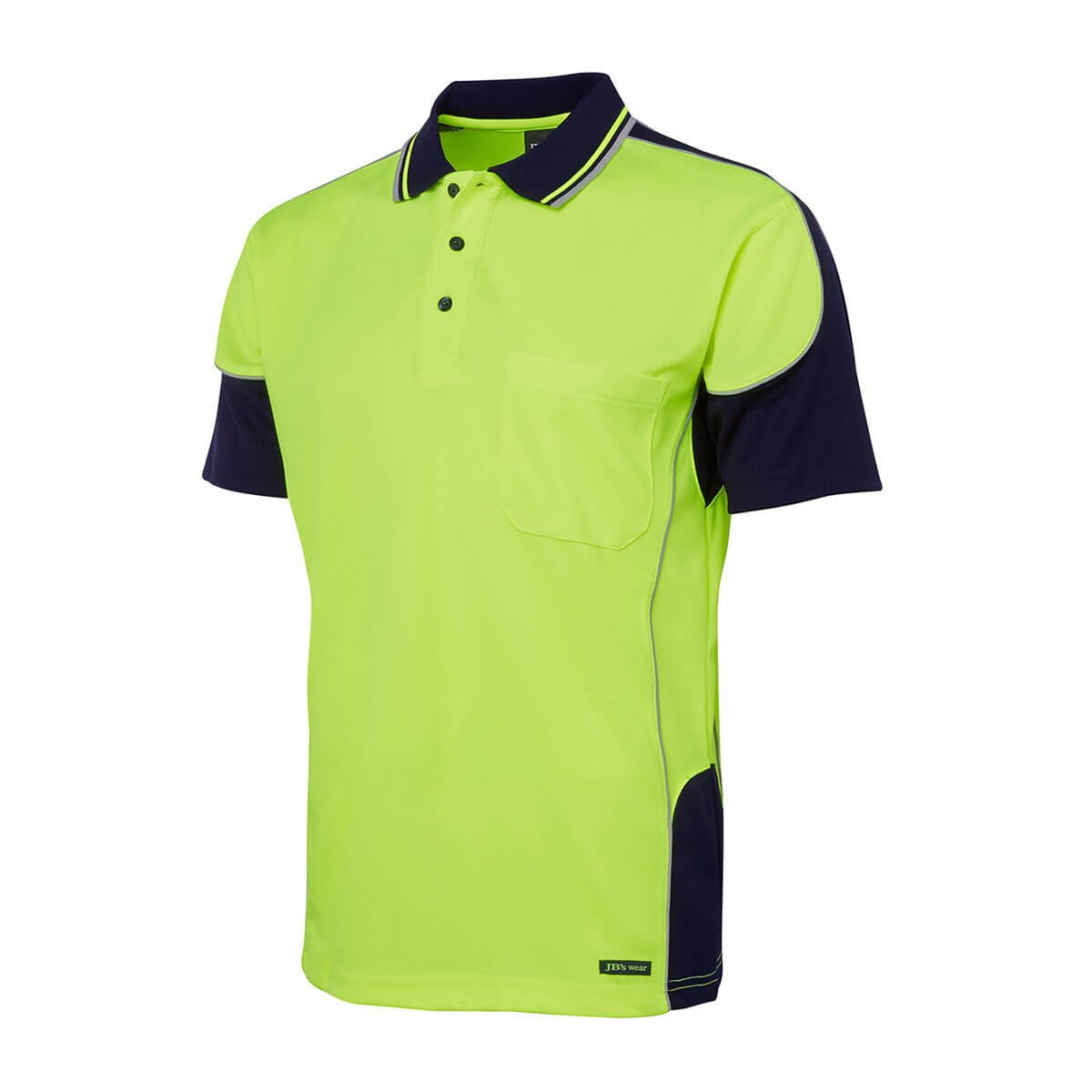 Hi Vis 4602.1 Contrast Piping Polo-Lime  /  Navy