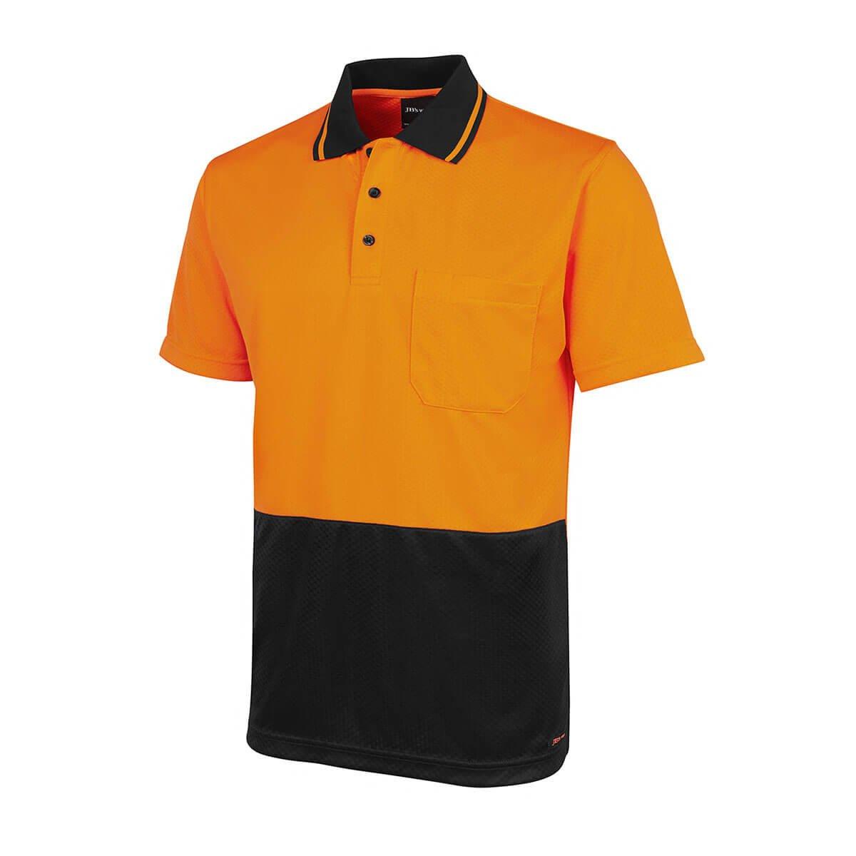 HV Jacquard Non Cuff Polo-Orange  /  Black