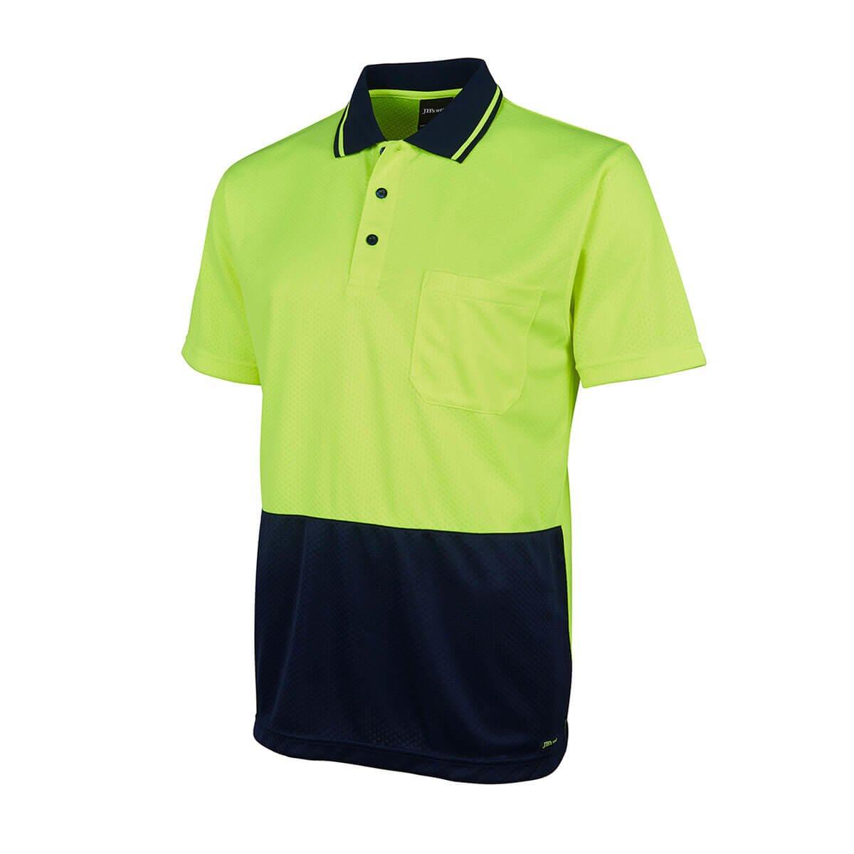 HV Jacquard Non Cuff Polo-Lime  /  Navy