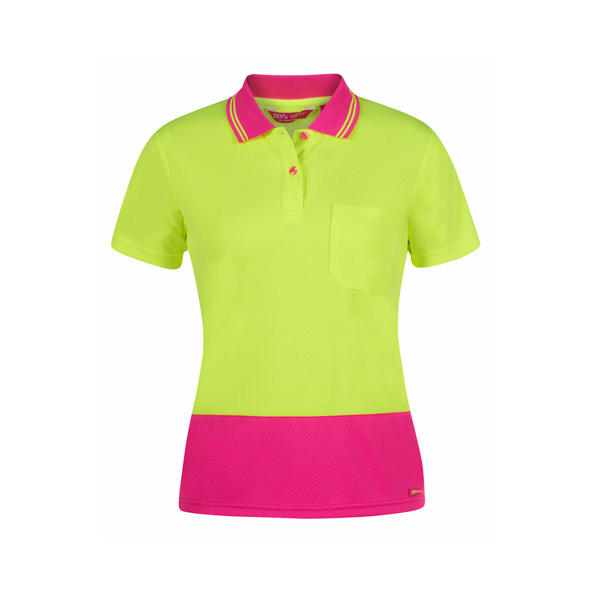 Ladies Hi Vis S/S Jacquard Polo-Lime  /  Pink