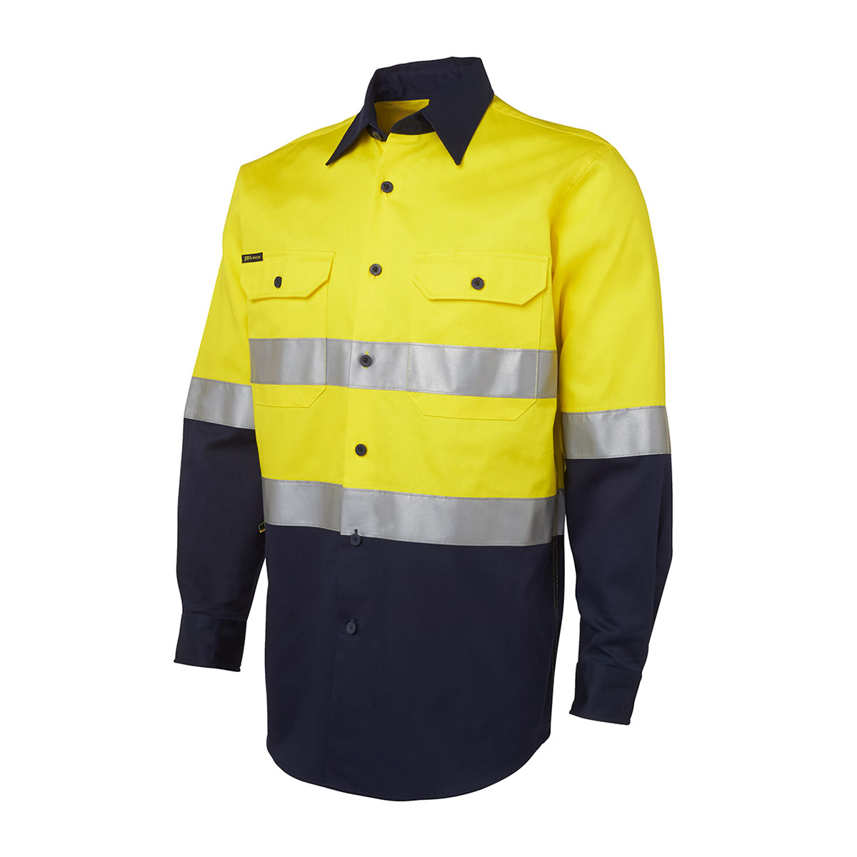 Hi Vis (D+N) L/S 190G Shirt-Yellow  /  Navy