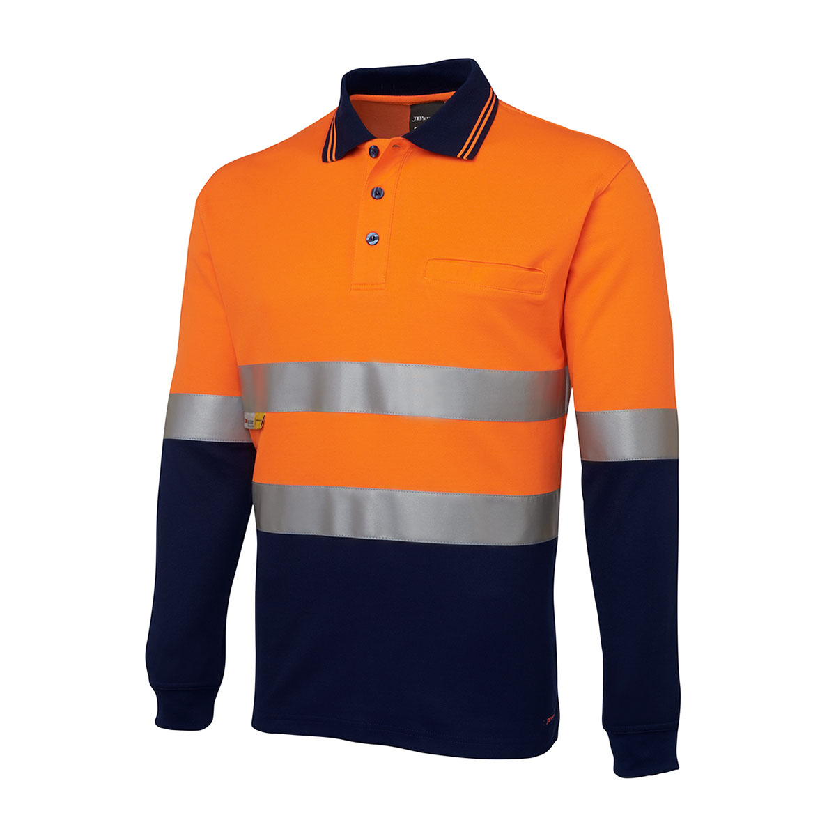 Hi Vis L/S (D+N) Cotton Back Polo-Orange  /  Navy