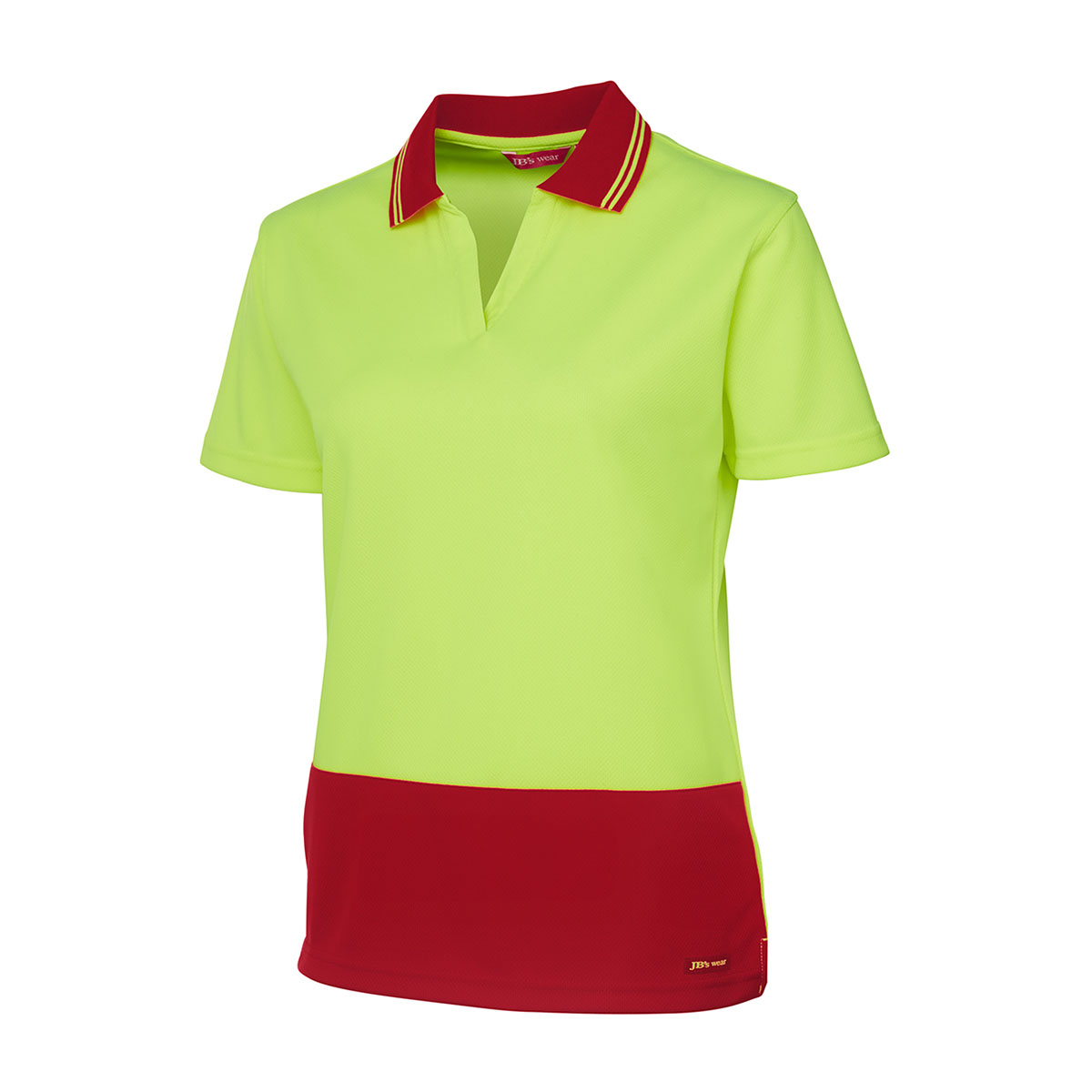 HV Ladies S/S Non Button-Lime  /  Red