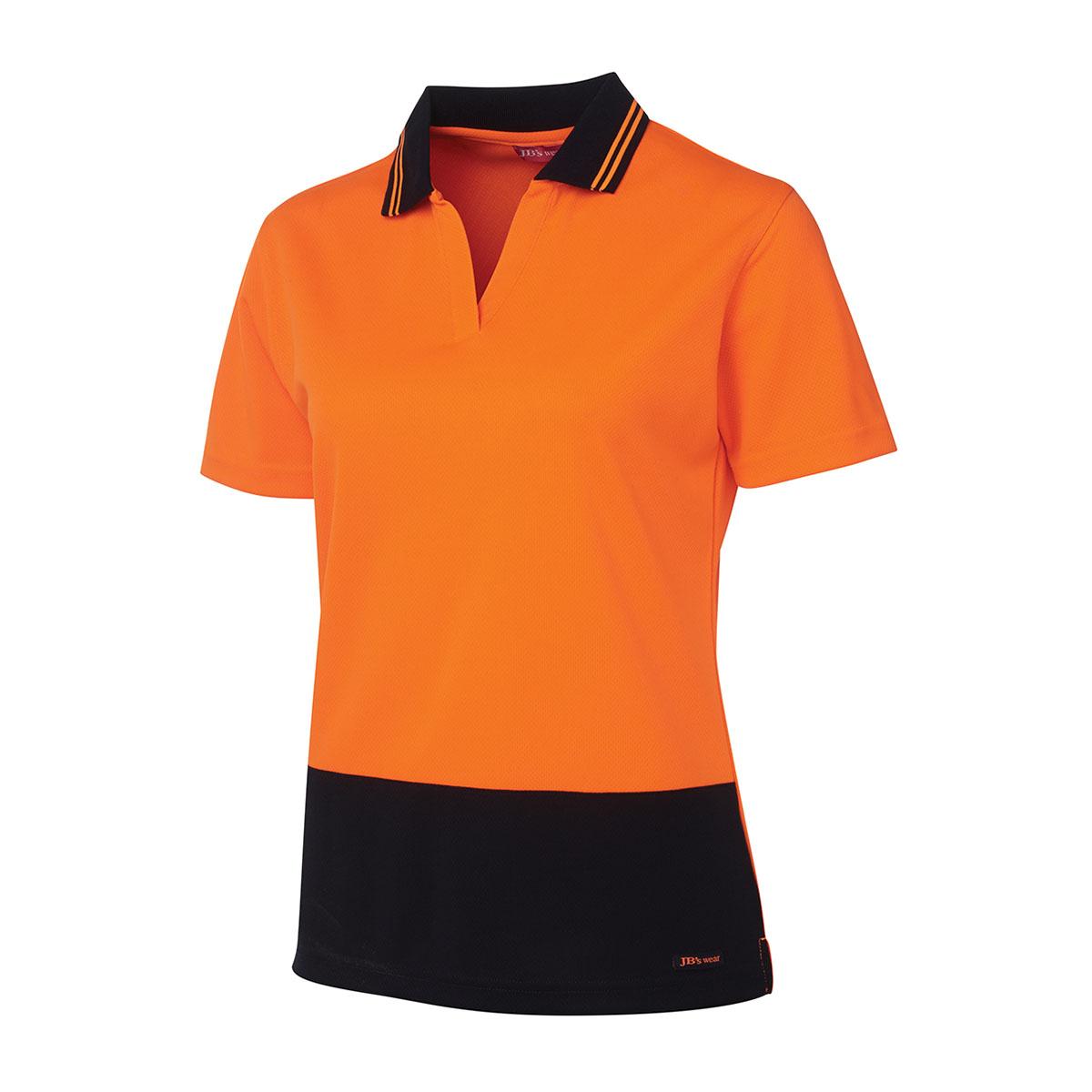 HV Ladies S/S Non Button-Orange  /  Navy