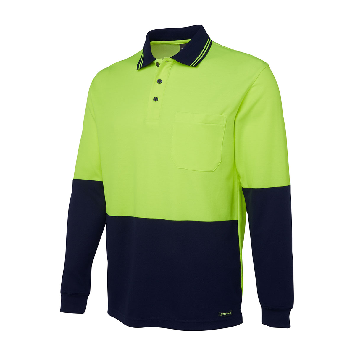 Hi Vis L/S Cotton Back Polo-Lime  /  Navy