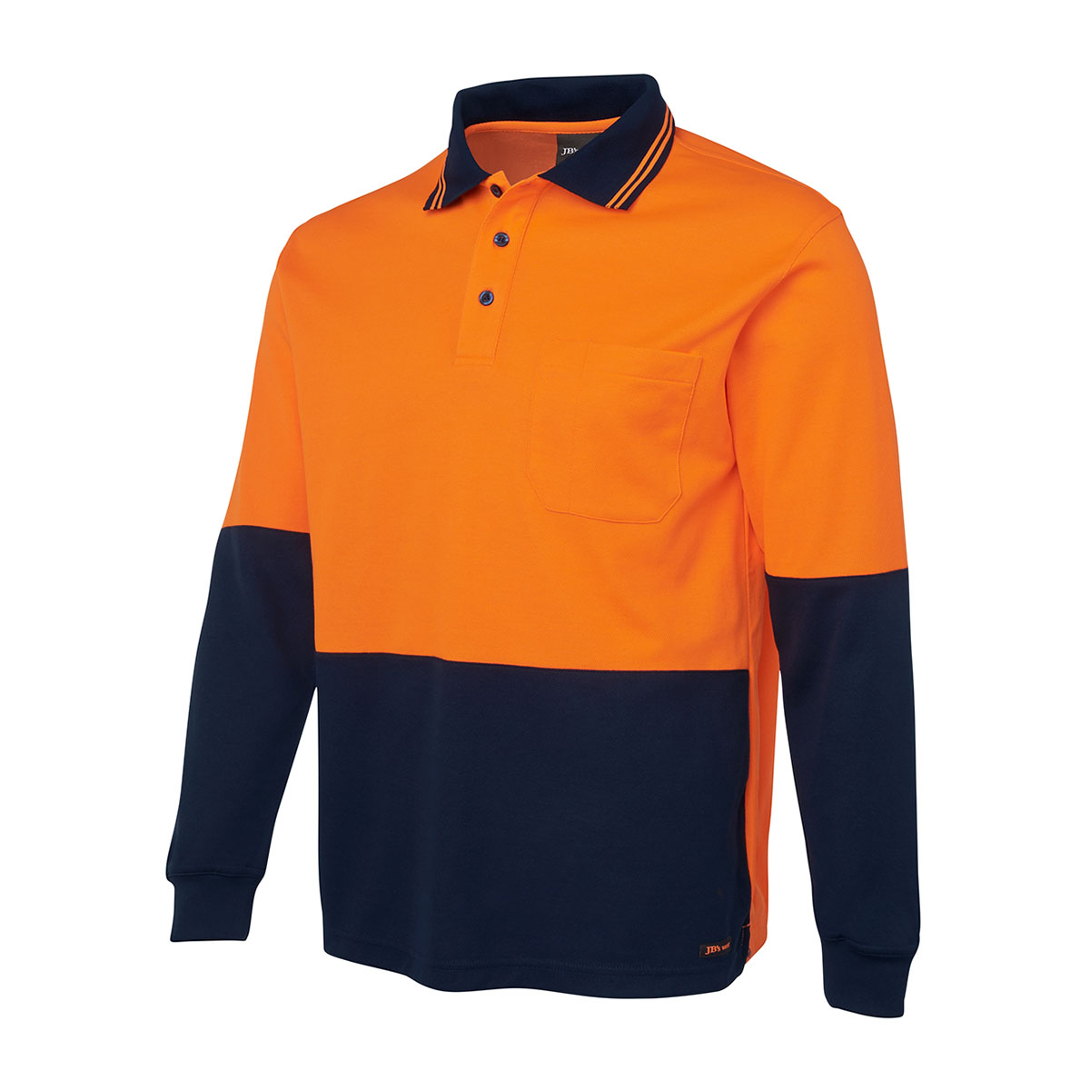 Hi Vis L/S Cotton Back Polo-Orange  /  Navy