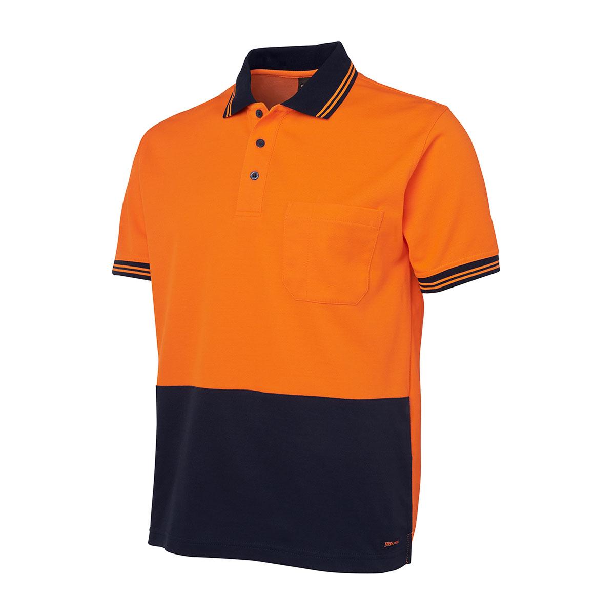 Hi Vis S/S Cotton Back Polo-Orange  /  Navy