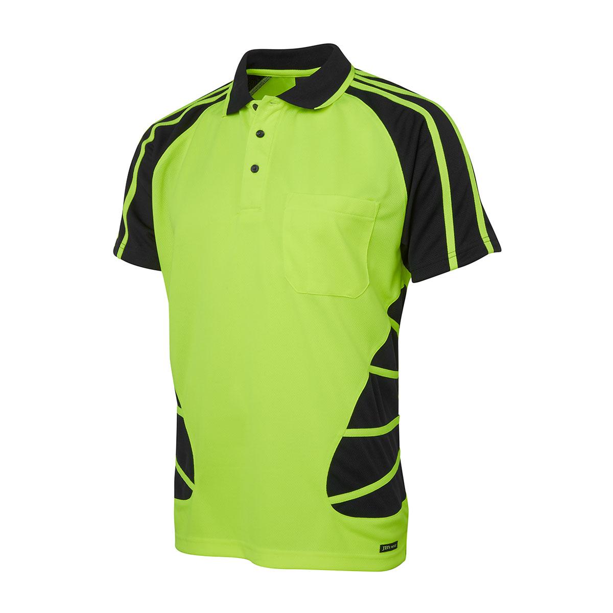 Hi Vis S/S Spider Polo-Lime  /  Black