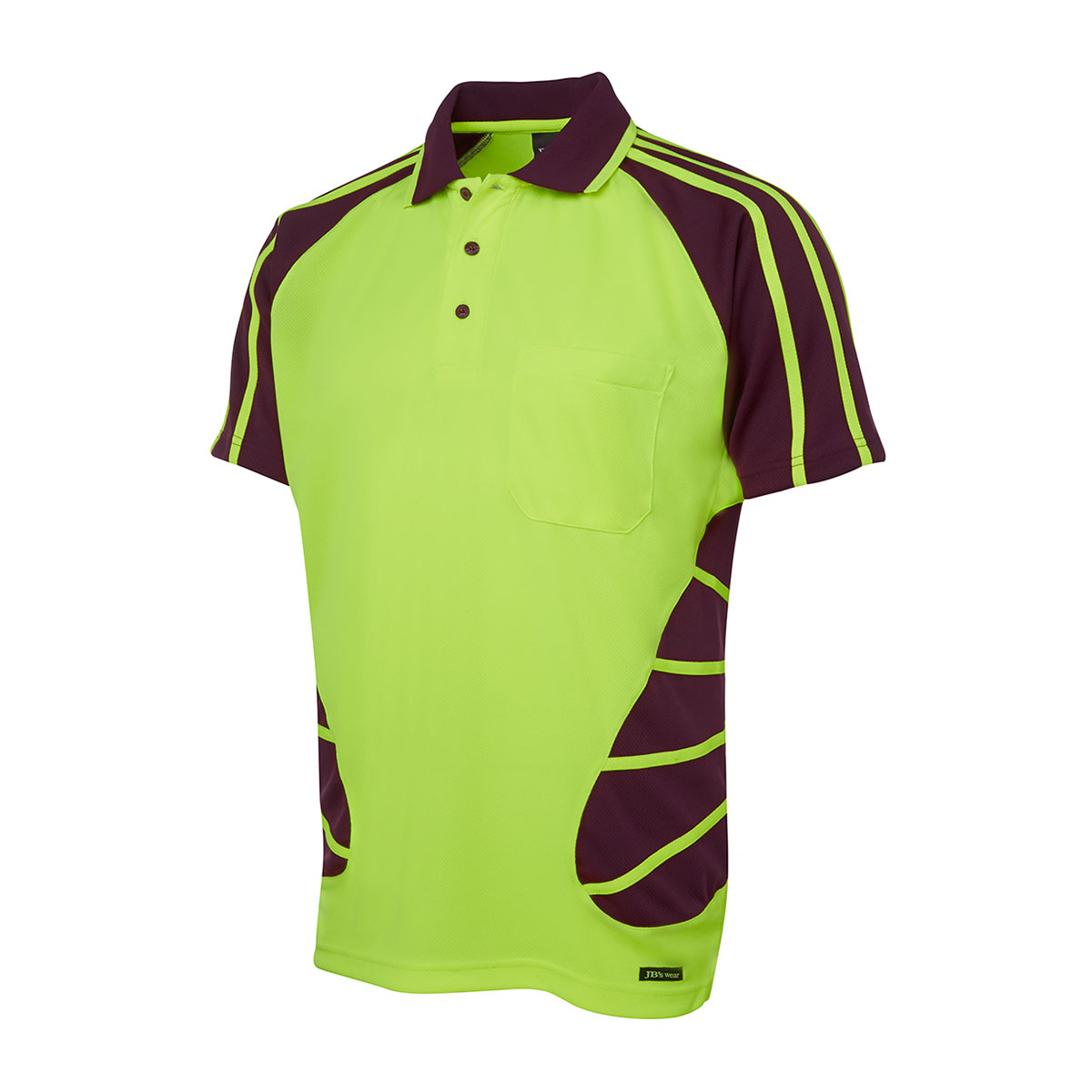 Hi Vis S/S Spider Polo-Lime  /  Maroon